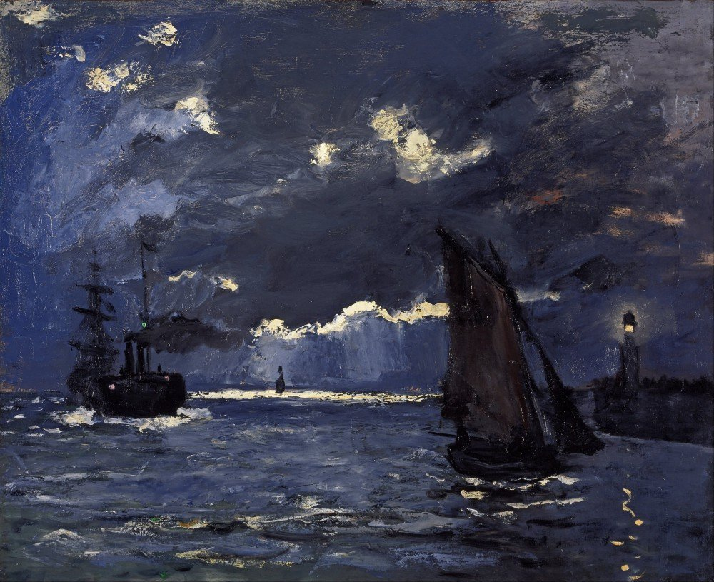 100% Hand Painted Oil on Canvas - Shipping by Moonlight by Monet - 20x24 Inch