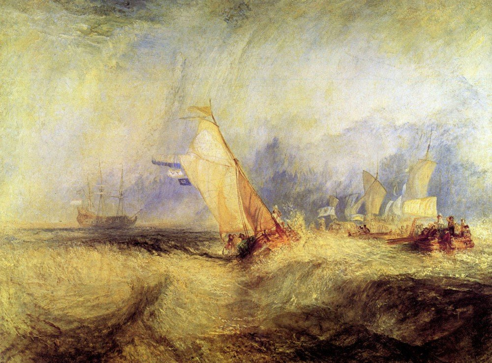 100% Hand Painted Oil on Canvas - Ships at sea by Joseph Mallord Turner - 20x...