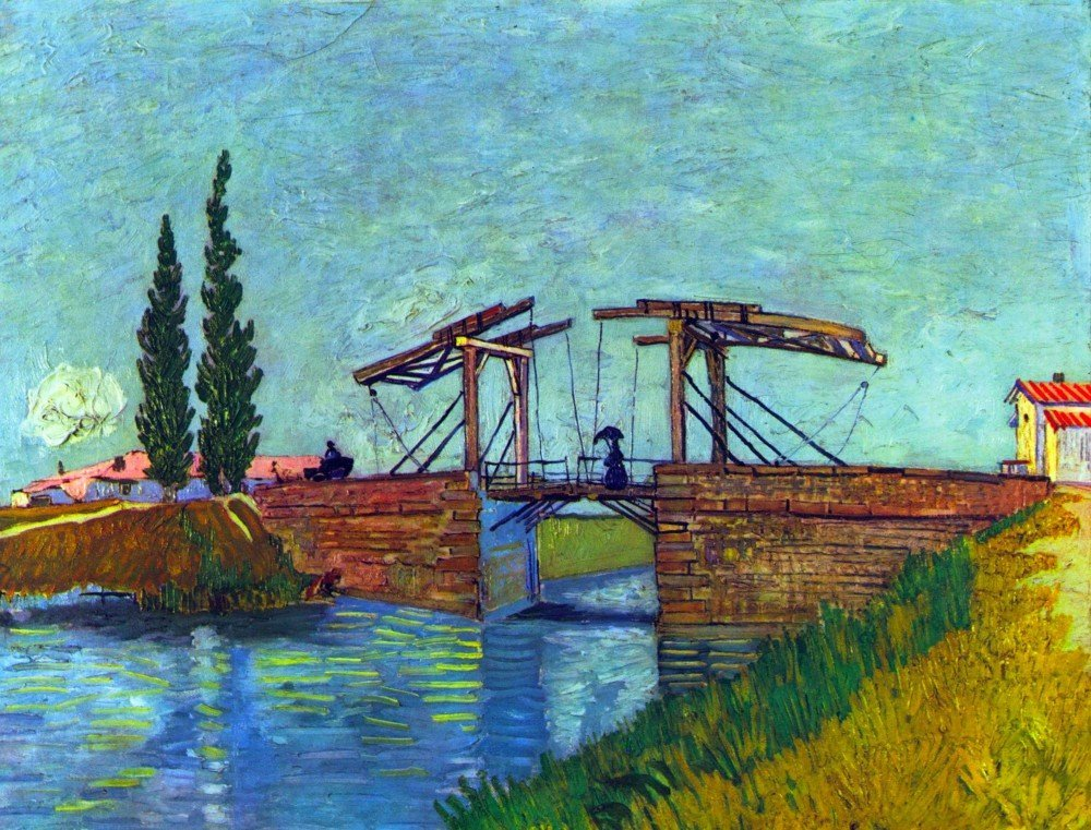 100% Hand Painted Oil on Canvas - The Anglois Bridge at Arles (The drawbridge...