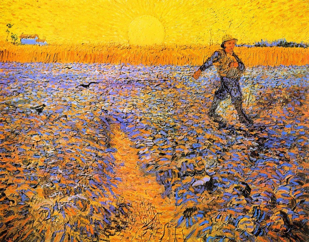 100% Hand Painted Oil on Canvas - Sower under the Sun by Van Gogh - 20x24 Inch