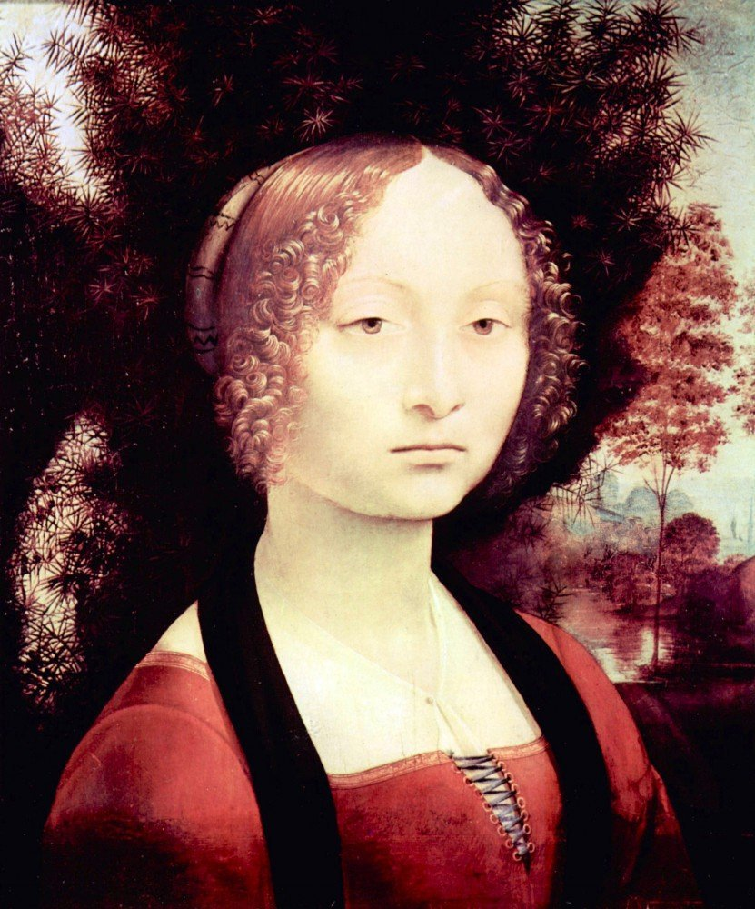 100% Hand Painted Oil on Canvas - Portrait of a Dame (Ginevra Benci) by Da Vi...