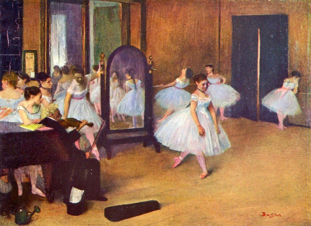 100% Hand Painted Oil on Canvas - The dance hall by Degas - 20x24 Inch