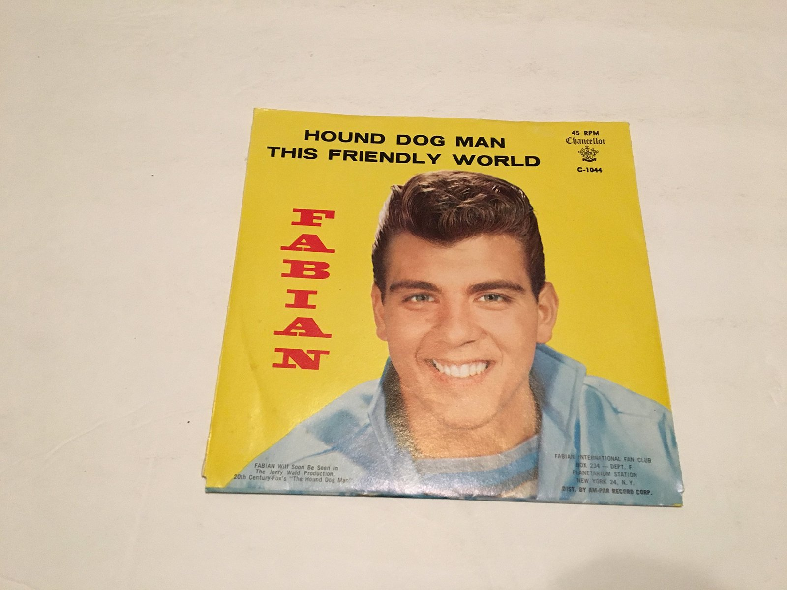 HOUND DOG MAN AND THIS FRIENDLY WORLD PICTURE SLEEVE [Vinyl] FABIAN