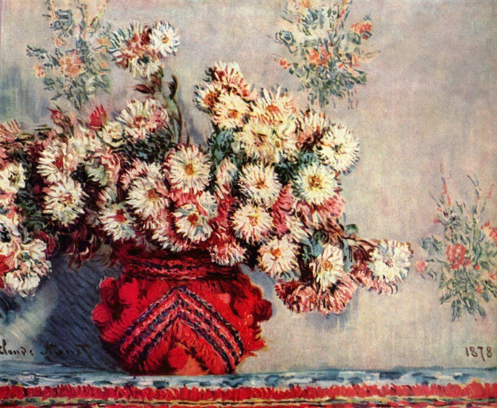 100% Hand Painted Oil on Canvas - Still Life with Chrysanthemums by Monet - 2...
