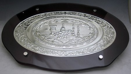 Wood & Silver Plate Challah Board - Large Oval by Legacy Judaica