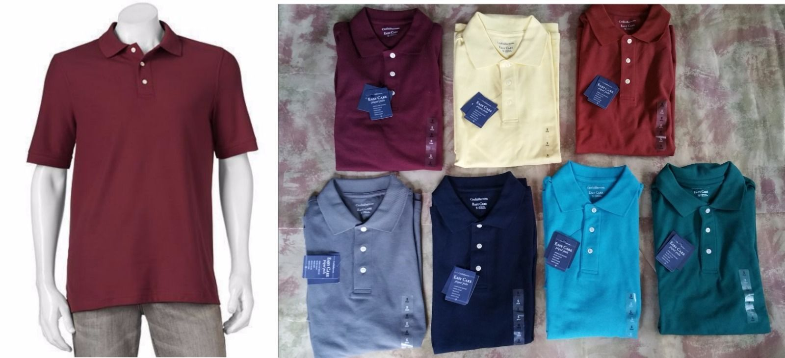 Croft&Barrow Men Polo Shirt-Easy Care Pique Knit Navy Maroon Yellow Teal Gray S