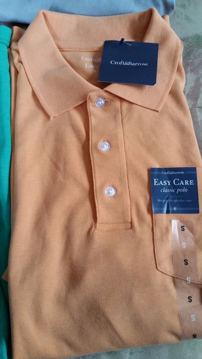 Croft&Barrow Mens Polo Shirt-Easy Care Interlock Tailor Fit Pink Yellow Gray S