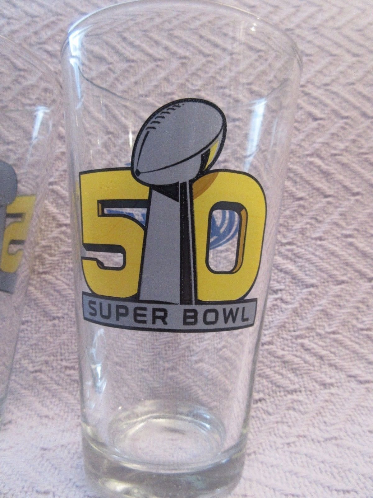 Bud Light NFL Super Bowl 50 Commemorative Pint Glasses - Set of 2 - BRAND NEW