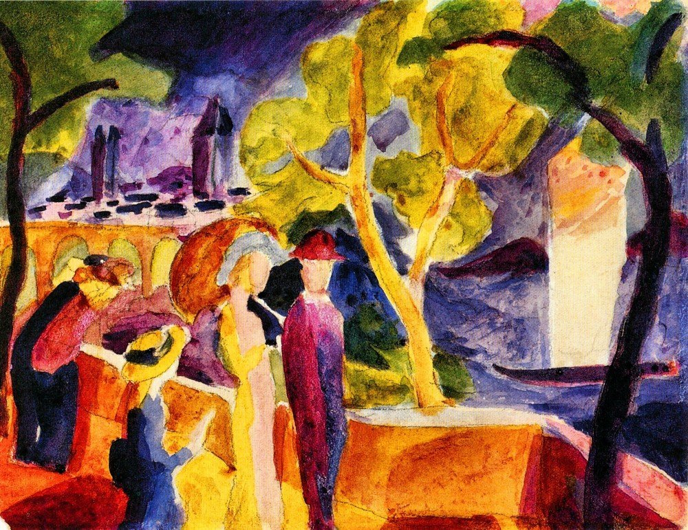 100% Hand Painted Oil on Canvas - Walking at the lake by August Macke - 20x24...