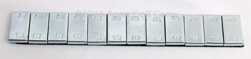 Steel Wheel Weights 1/4 OZ x12 ZN Plating 4 Strips