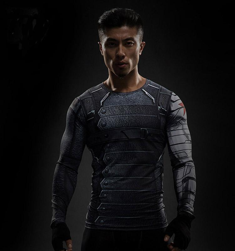 Winter Soldiers Men T-Shirts Long Sleeve Gym Fitness Elastic Marvel Cosplay Tops