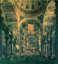 100% Hand Painted Oil on Canvas - San Marco, inside view by Canaletto - ... - $226.71
