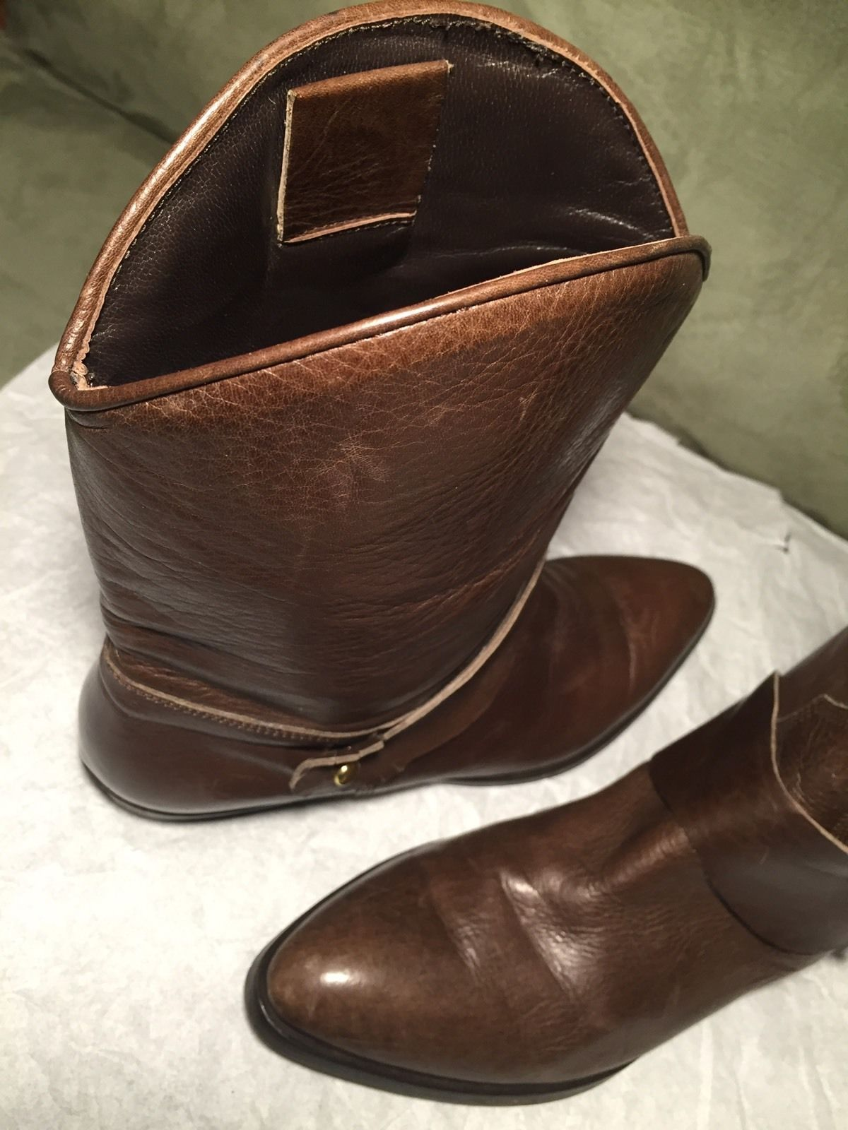 LUCA VALENTINI Authentic Brown Leather Ankle Boots Size 40