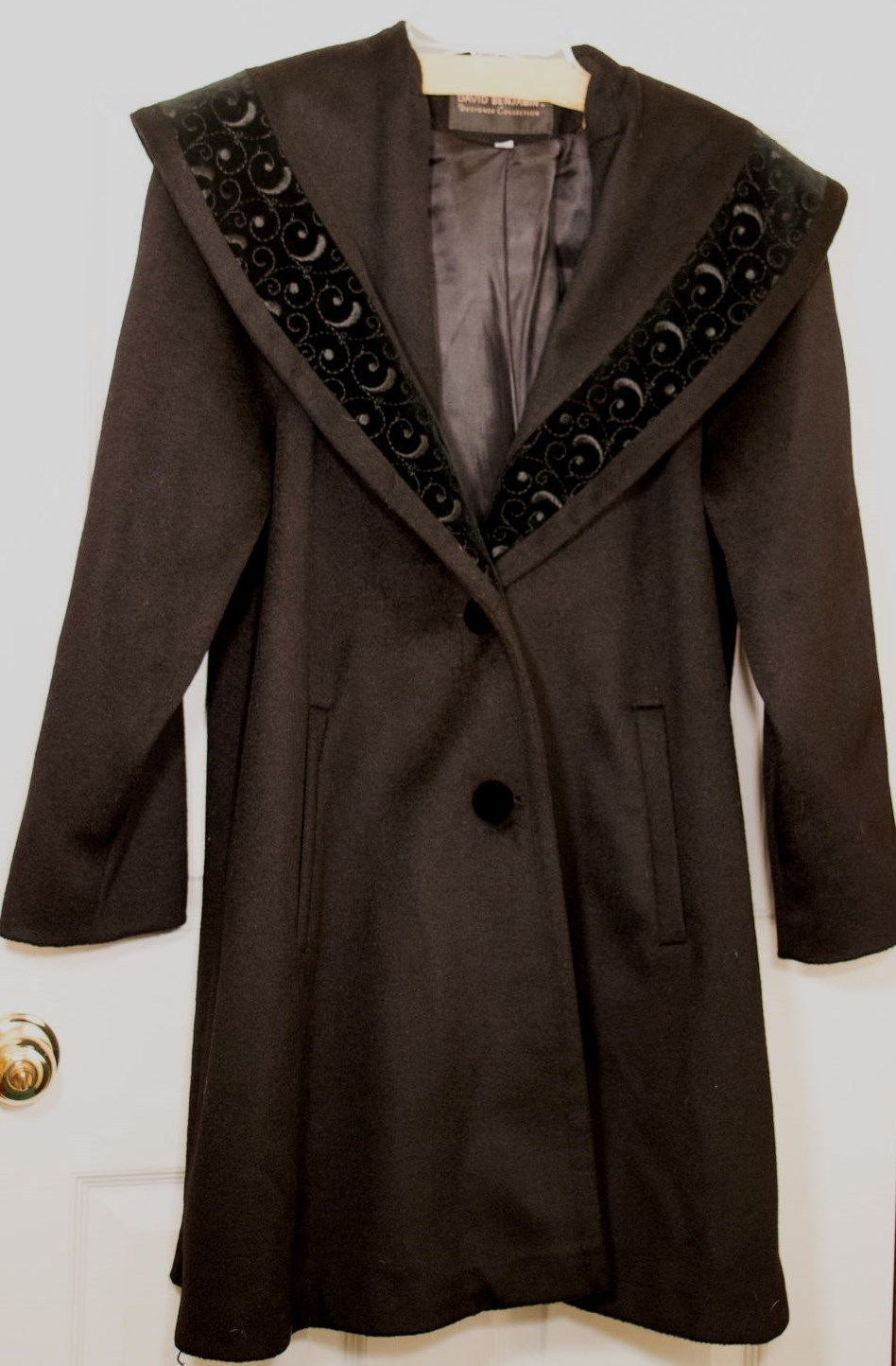 DAVID BENJAMIN Black Hockanum Wool Stitch Velvet Shawl Collar Women Swing Coat 4