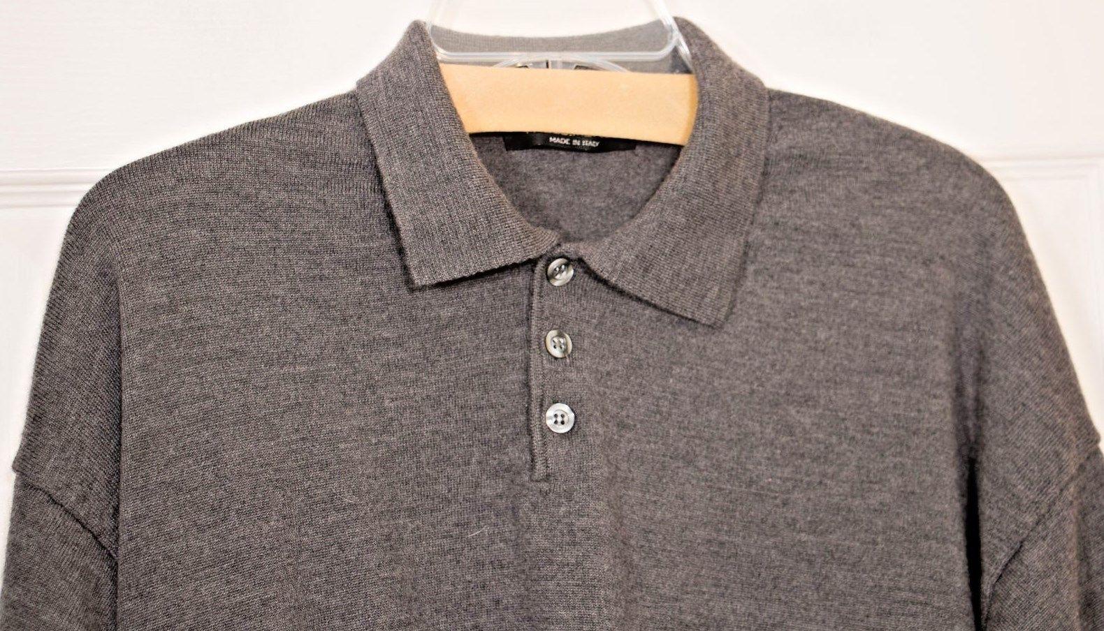 Paolo Mondo Mens 2XL Lightweight Collar 3 Button Wool Sweater Heather Gray Italy