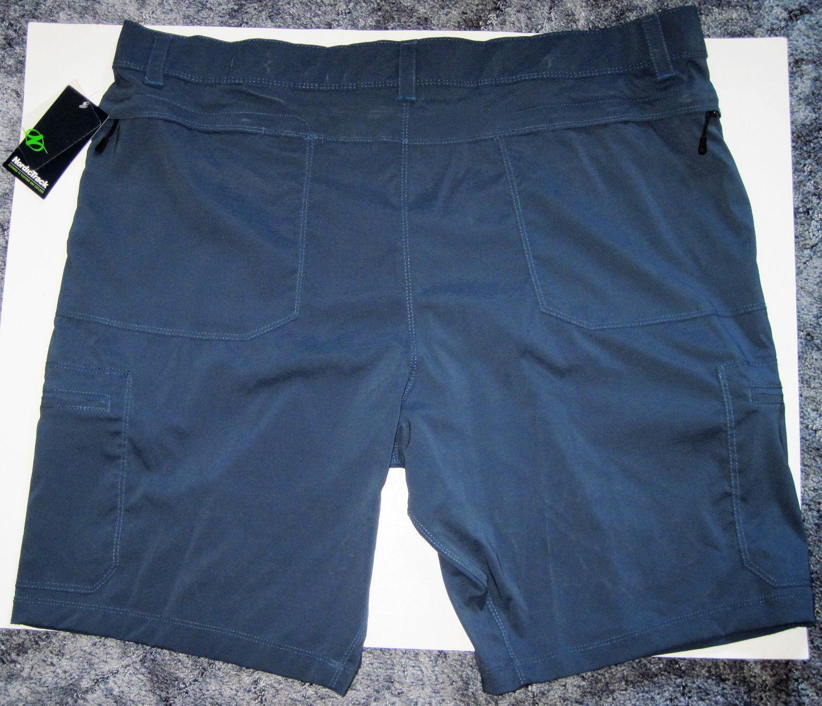NWT NordicTrack Cargo Shorts Navy Blue 6 pockets Light Polyester Spandex flat 42