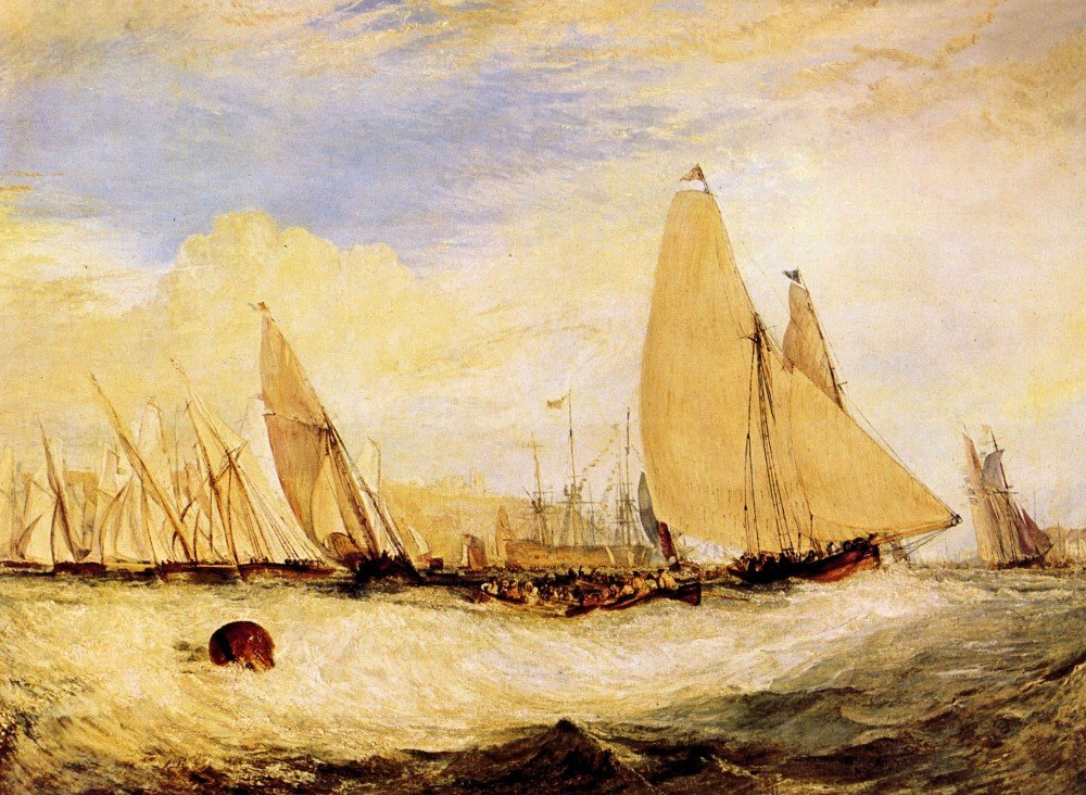 100% Hand Painted Oil on Canvas - East Cowes Castle, Regatta by Joseph Mallor...