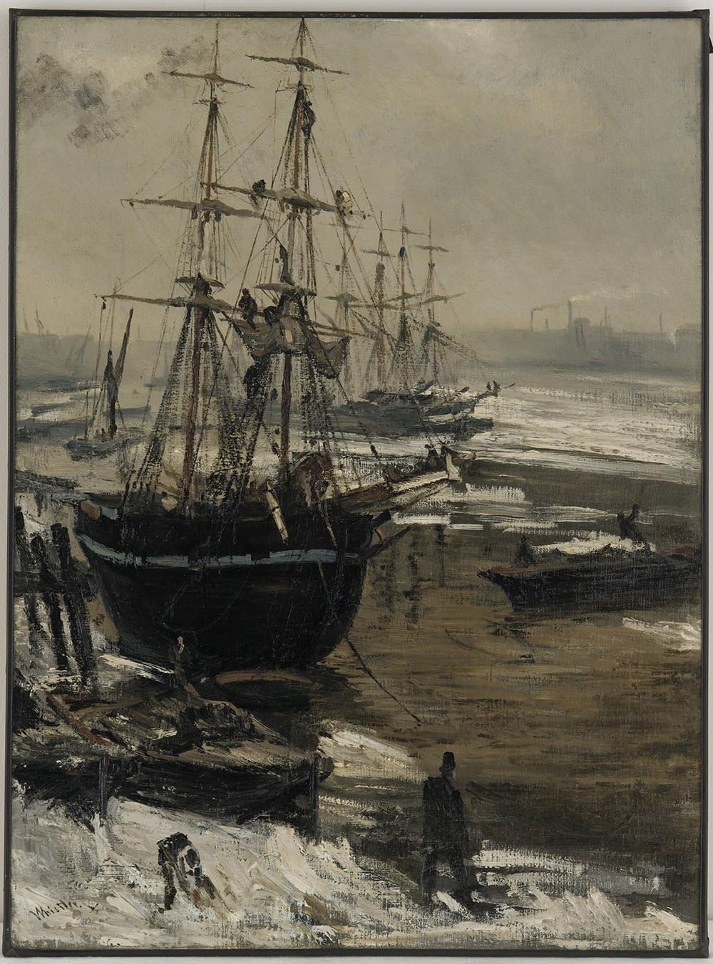 100% Hand Painted Oil on Canvas - Whistler - The Thames in Ice - 20x24 Inch