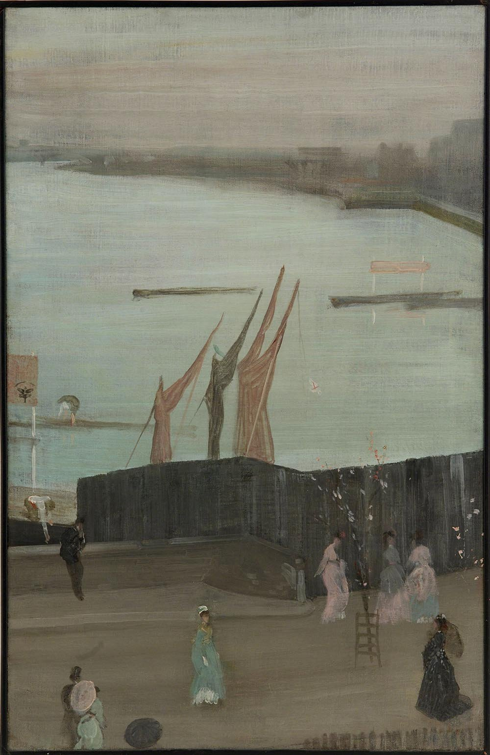 100% Hand Painted Oil on Canvas - Whistler - Variations in pink and grey - 20...