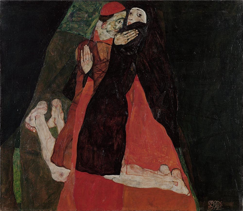 100% Hand Painted Oil on Canvas - Egon Schiele - Cardinal and Nun - 20x24 Inch
