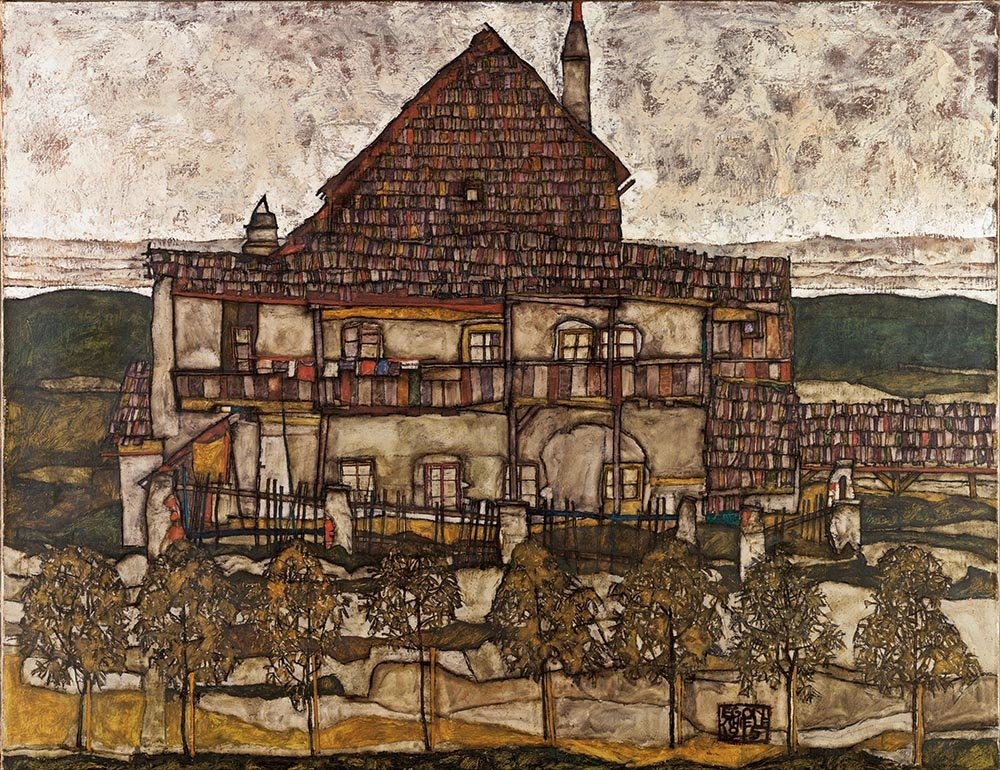 100% Hand Painted Oil on Canvas - Egon Schiele - House with Shingle Roof - 20...