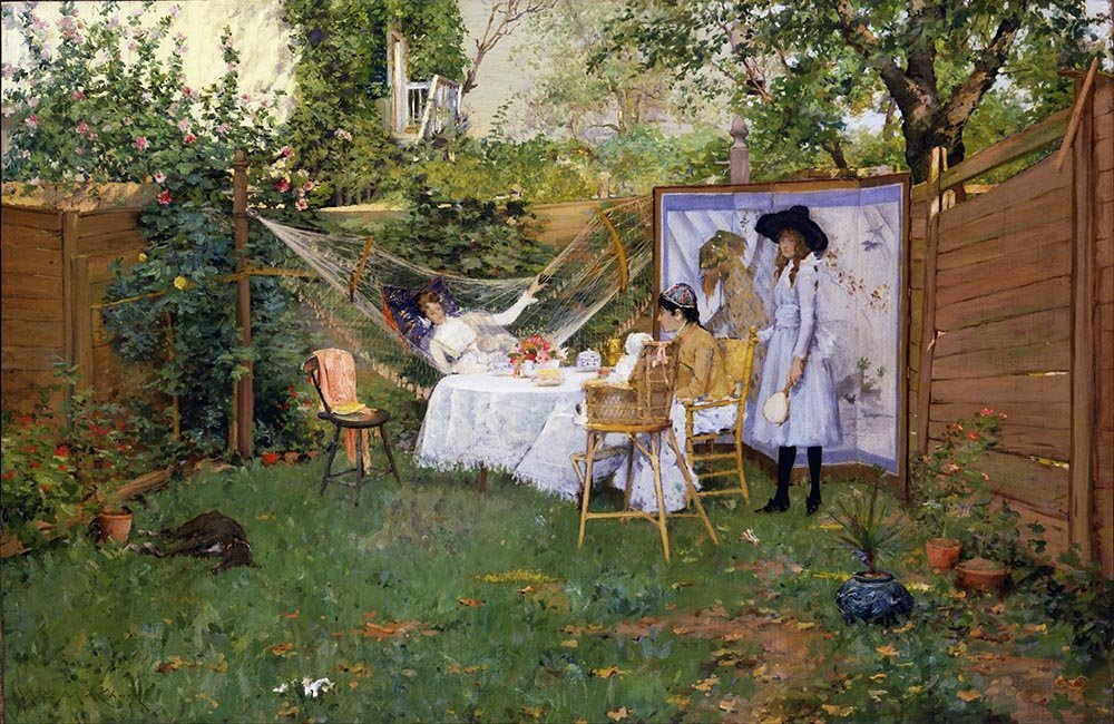 100% Hand Painted Oil on Canvas - William Merritt Chase - Open Air Breakfast ...