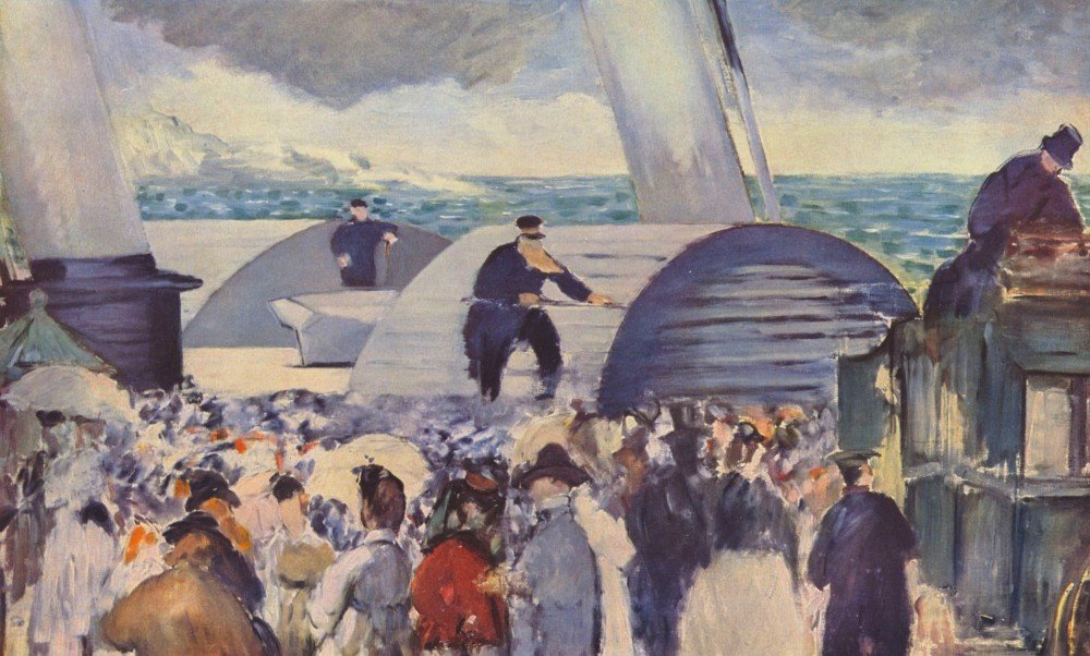 100% Hand Painted Oil on Canvas - Embarkation of the Folkestone by Manet - 20...
