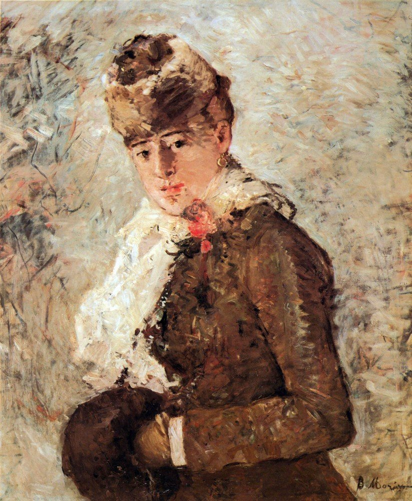 100% Hand Painted Oil on Canvas - Winter (woman with Muff) by Morisot - 20x24...