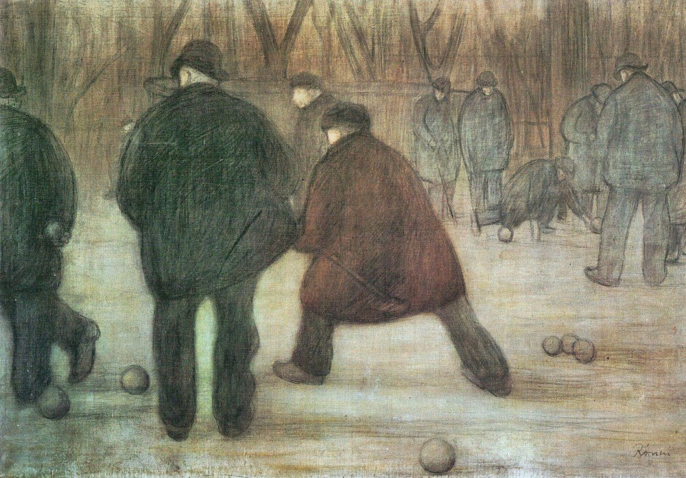 100% Hand Painted Oil on Canvas - Ball player by Joseph Rippl-Ronai - 20x24 Inch
