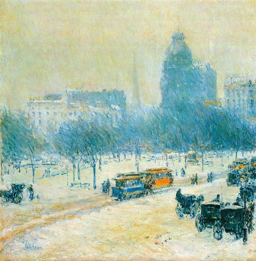 100% Hand Painted Oil on Canvas - Winter in Union Square by Hassam - 20x24 Inch