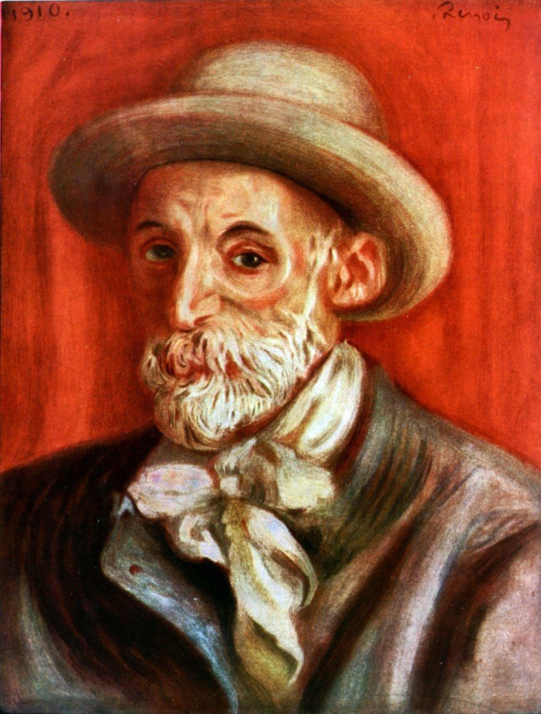 100% Hand Painted Oil on Canvas - Self-Portrait 1910 by Renoir - 20x24 Inch