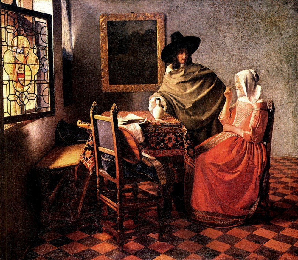 100% Hand Painted Oil on Canvas - Glass of wine by Vermeer - 24x36 Inch