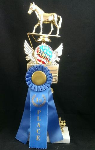 """Horse Trophy 1st Place 15""""  1st Place Ribbon USTRC PRCA NFR  Rodeo Barn Decor"""