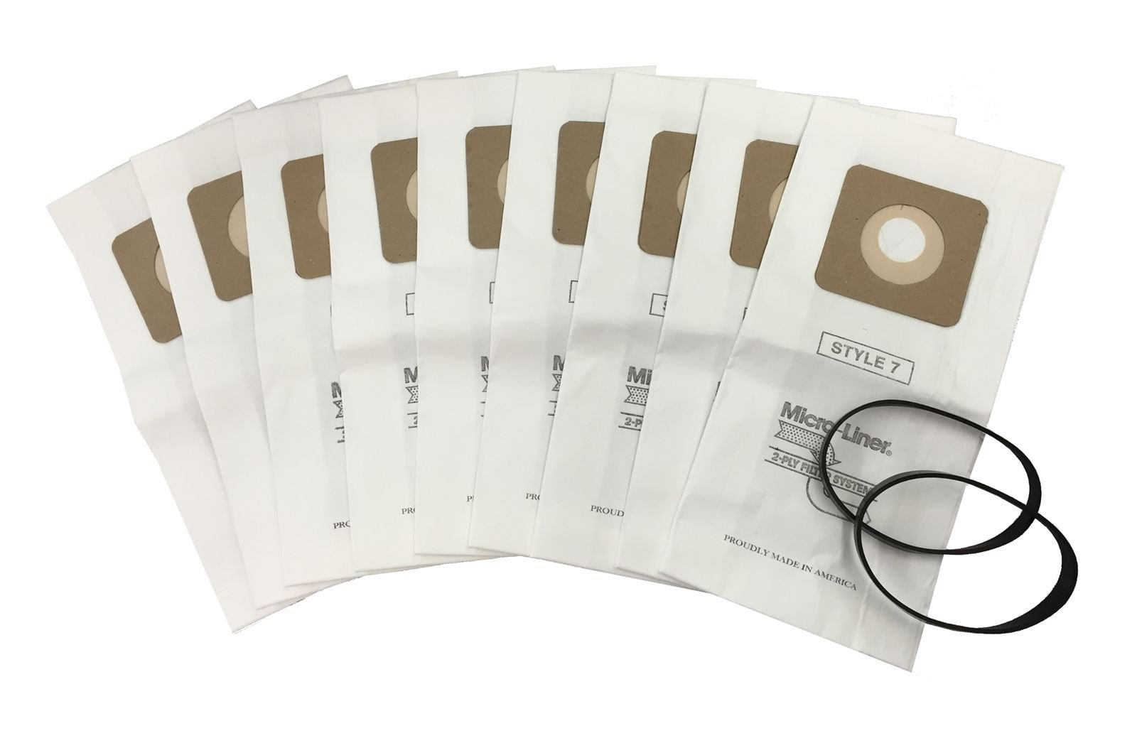 9 VACUUM BAGS & 2 BELTS for BISSELL STYLE 1 & 7, 30861 MICRO FILTRATION