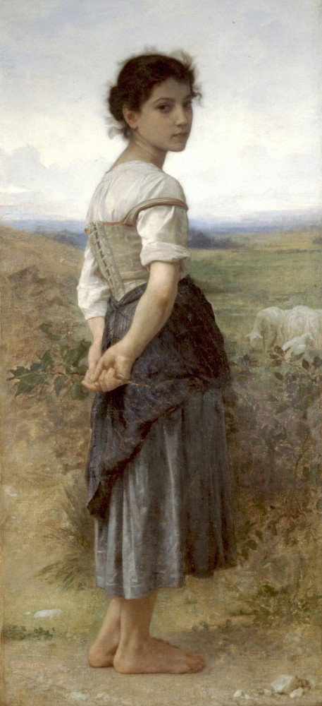 100% Hand Painted Oil on Canvas - The Young Shepherdess - 20x24 Inch