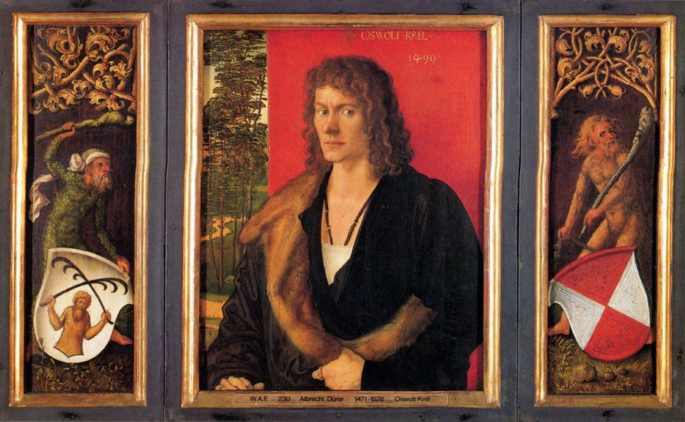 100% Hand Painted Oil on Canvas - Portrait of Oswald Krell by Durer - 24x36 Inch