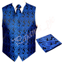 Royal Blue XS to 6XL Paisley Tuxedo Suit Dress Vest Waistcoat & Neck tie... - $23.74+