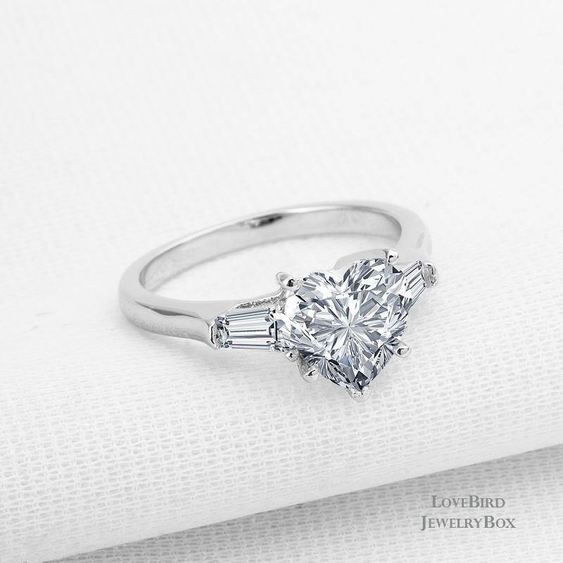 2 ct Heart Baguette Cubic Zirconia Trilogy 925 Sterling Silver Engagement Ring