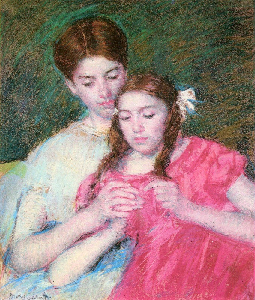 100% Hand Painted Oil on Canvas - Woman and girl by Cassatt - 20x24 Inch