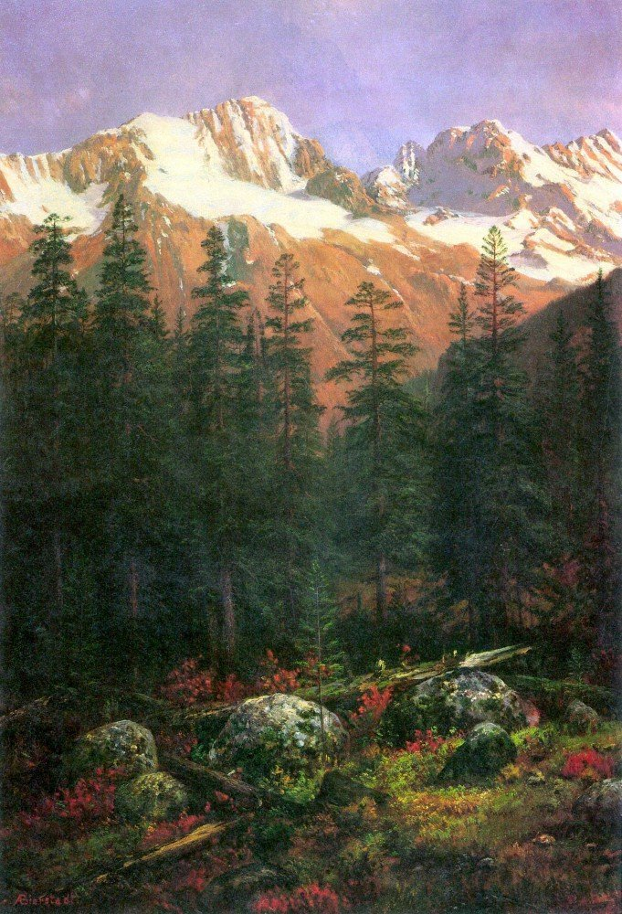 100% Hand Painted Oil on Canvas - Canadian Rockies by Bierstadt - 20x24 Inch