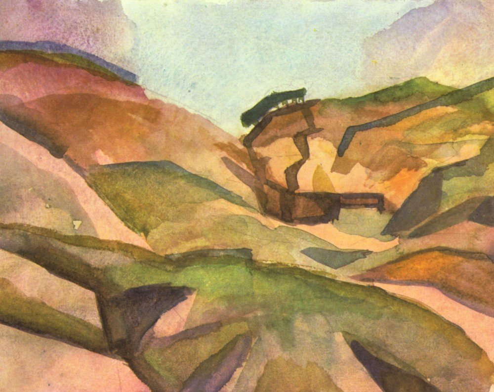 100% Hand Painted Oil on Canvas - Gorge by August Macke - 24x36 Inch