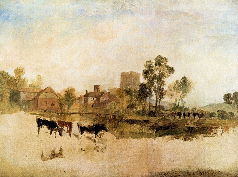 100% Hand Painted Oil on Canvas - Goring Mill and church by Joseph Mallord Tu...