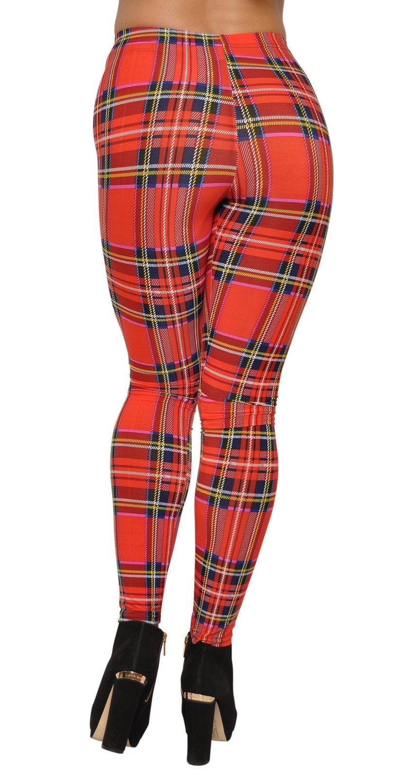 Tartan Red Plaid Leggings Size XL