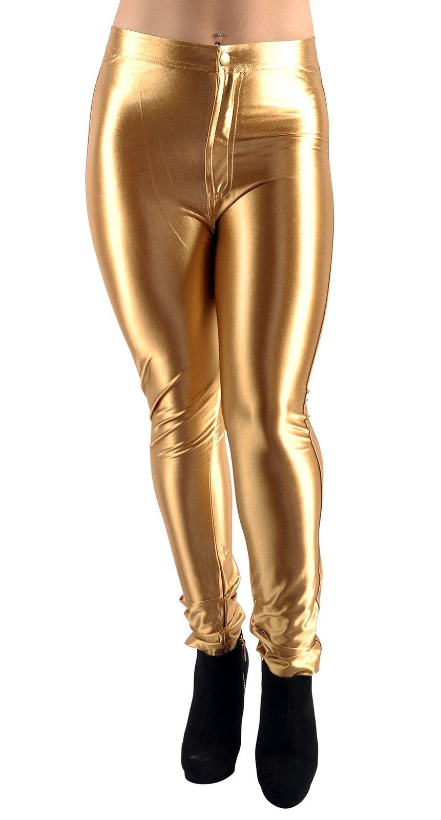 BadAssLeggings Women's Shiny Disco Pants Large Gold