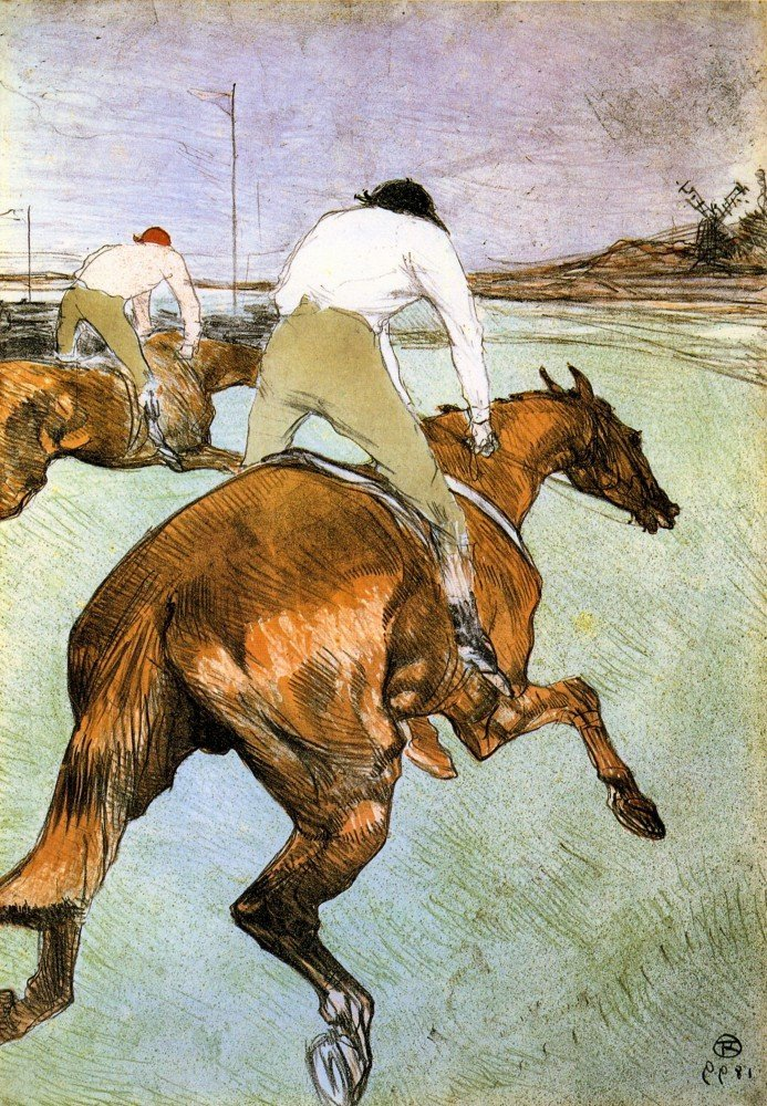 100% Hand Painted Oil on Canvas - The Jockey 2 by Toulouse-Lautrec - 20x24 Inch