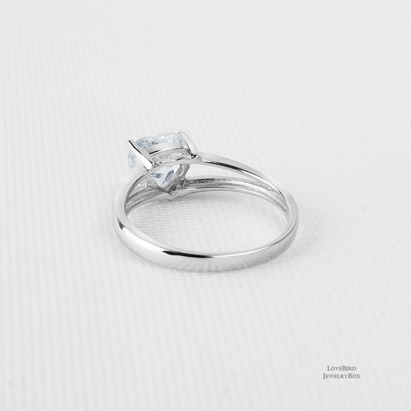 1.25 ct. Heart 925 Sterling Silver Cubic Zirconia Split Engagement Ring