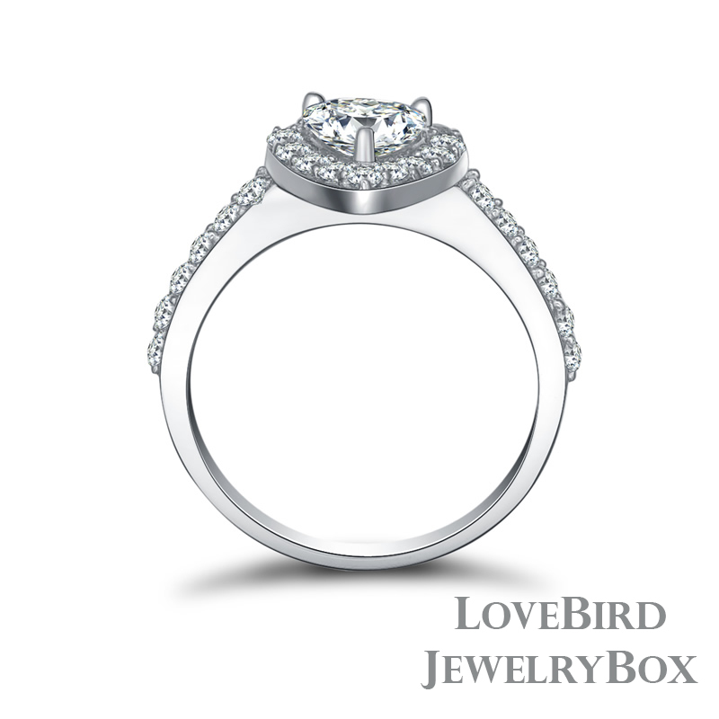0.75 ct. Heart Halo Surface Prong 925 Sterling Silver CZ Engagement Ring
