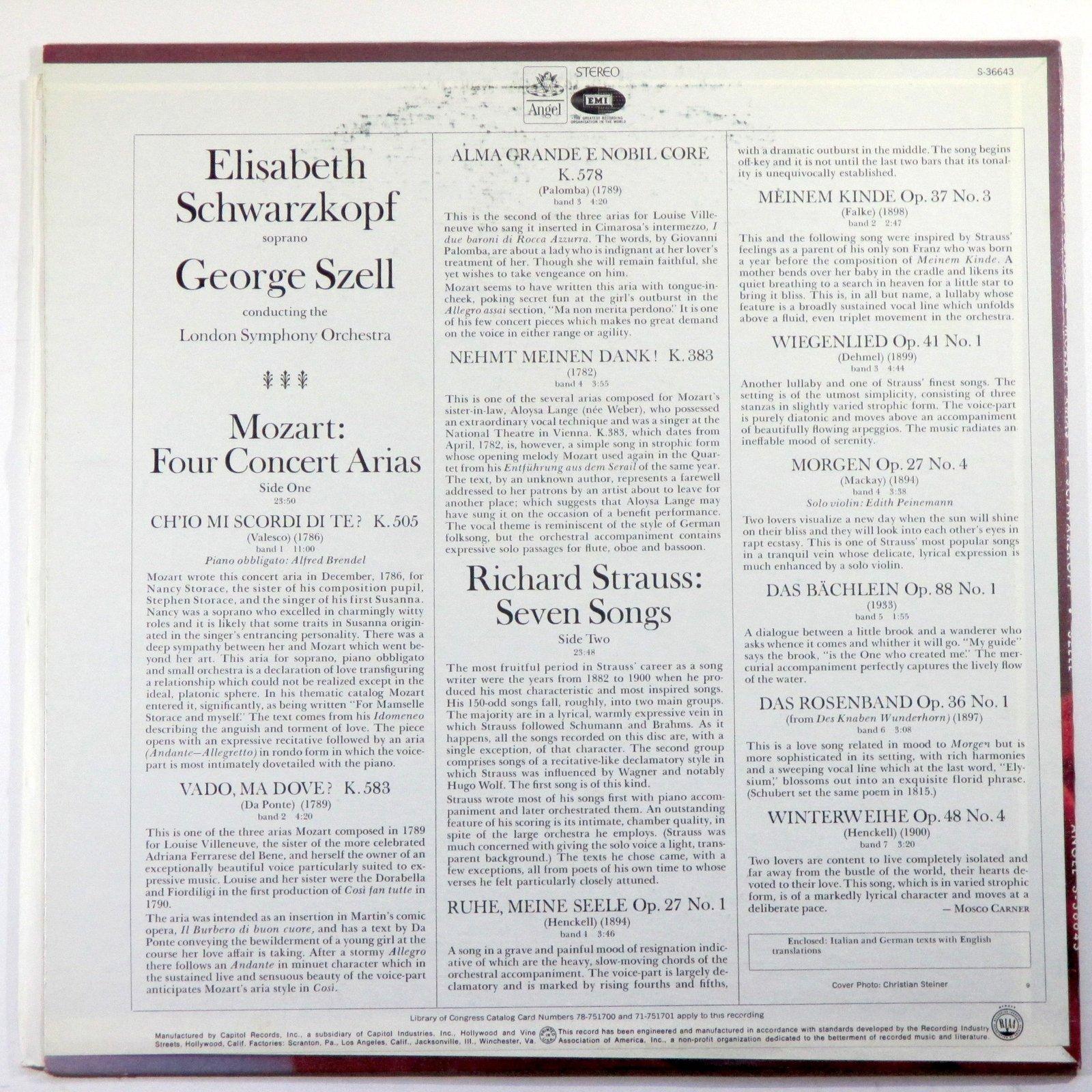 Strauss: Seven Songs / Mozart: Four Concert Arias [Vinyl] Elisabeth Schwarzko...