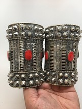 1pc Vintage Afghan Turkmen Tribal Oval Red Coral Inlay Spike cuff bracelet - $44.99