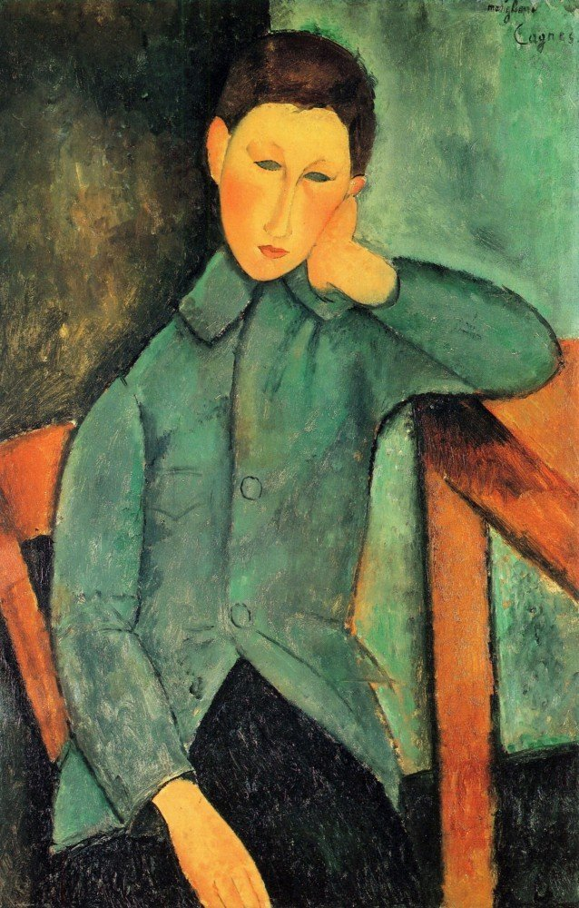 100% Hand Painted Oil on Canvas - Modigliani - Boy in a blue jacket - 24x36 Inch